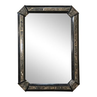 Italian Mid-Century Mirror With Inlaid Marble Frame For Sale