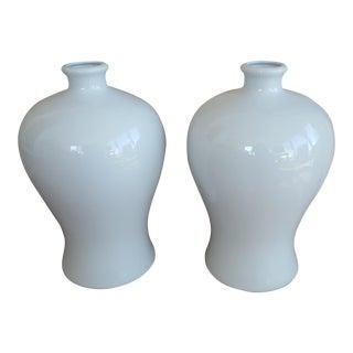 Vintage Chinoiserie Blanc De Chine Bulbous Vases - a Pair