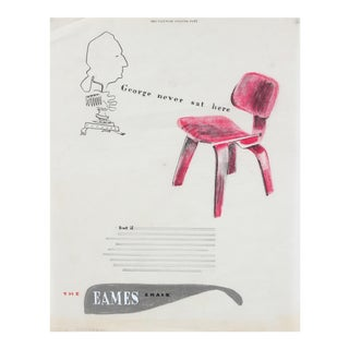 Mid-Century Eames Chair Illustration in Pastel and Colored Pencil For Sale