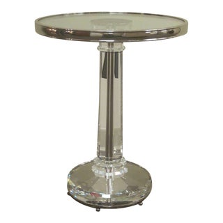 Two French Mid-Century Modern Style Solid Crystal & Nickel Side Tables, Baccarat