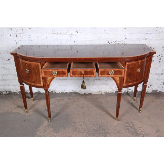 Baker Furniture Stately Homes Sheraton Bow Front Inlaid Mahogany Sideboard For Sale In South Bend - Image 6 of 13