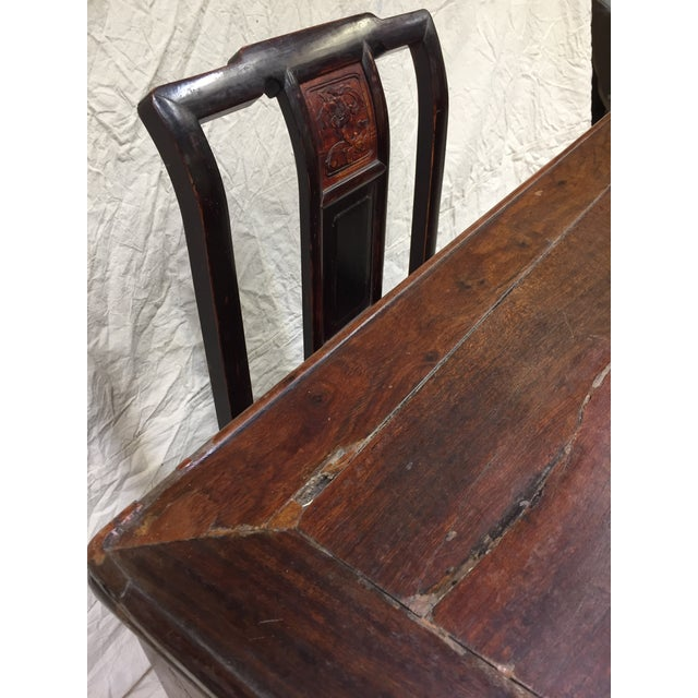 Late 19th Century Antique Chinese Gaming Table & Chairs- 5 Pieces For Sale - Image 4 of 13