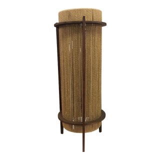 1960s Mid-Century Teak and Rope Table Lamp For Sale