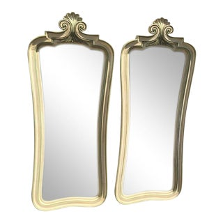 Shabby Chic Whitewashed Full-Length Mirrors - a Pair For Sale