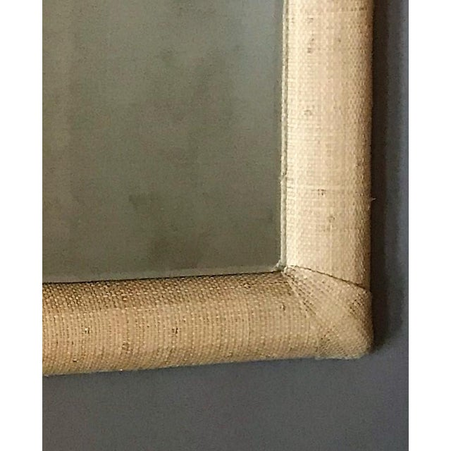 Early 21st Century Custom Raffia Covered Beveled Mirror For Sale - Image 5 of 6