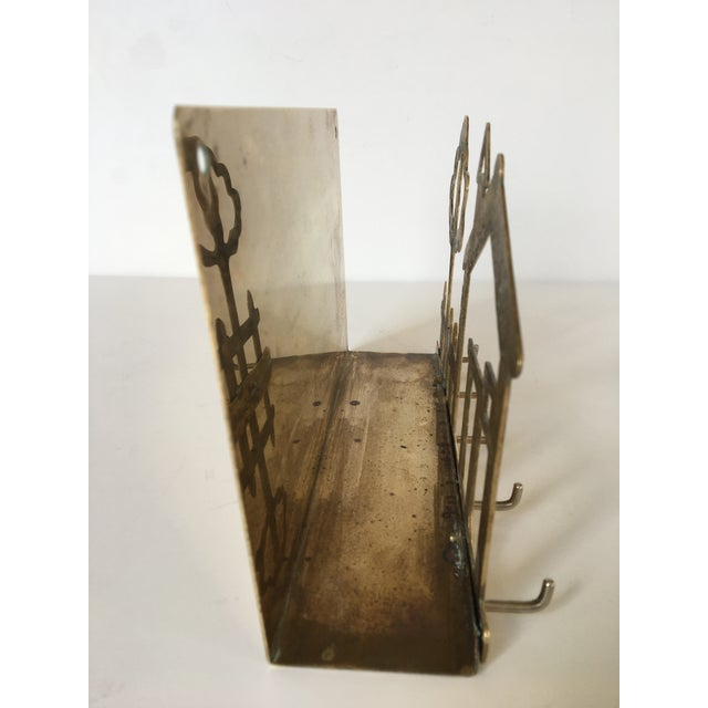 Metal Mid-Century Brass House & Fence Letter Holder and Key Rack For Sale - Image 7 of 9