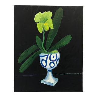 Fresh and Modern Still Life With Orchid Painting For Sale