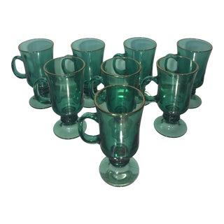 Vintage Libbey Gold Rim Green Glass Irish Coffee Pedestal Mugs - Set of 8 For Sale