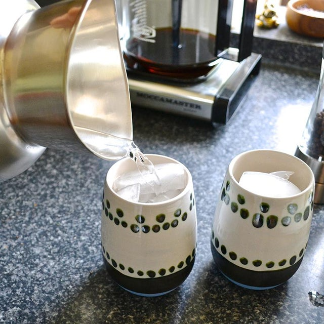 Boho Chic Maya Hand Painted Ceramic Mugs (set of two) For Sale - Image 3 of 7