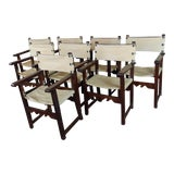 Image of 19th Century Antique Spanish Revival Oak Dining Chairs -Set of 8 For Sale