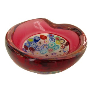 C.1950's-60s Italian Hand-Blown Archimede Seguso Rasberry Red Incalmo Millefiori Murano Catchall Bowl For Sale