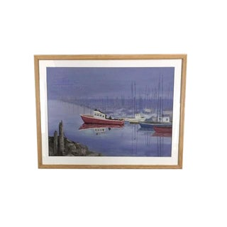Vintage Oil Painting of Boats in a Harbor For Sale