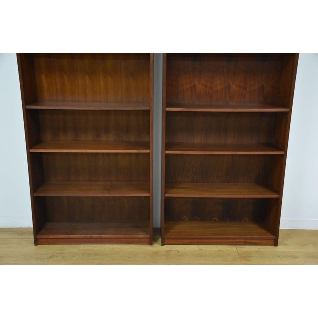 Modern Large Walnut Bookcases- A Pair For Sale - Image 3 of 10