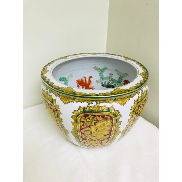 Vintage Andrea by Sadek Chinoiserie Fish Bowl Ceramic Floor Planter Cachepot For Sale - Image 11 of 11