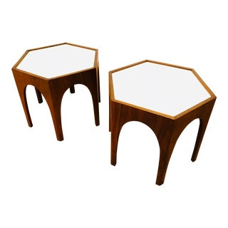 Hexagonal Harvey Probber Arched Walnut End Tables With White Laminate Top - A Pair For Sale