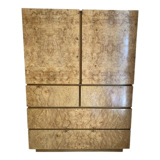 Roland Carter for Lane Furniture Burl Wood Armoire For Sale