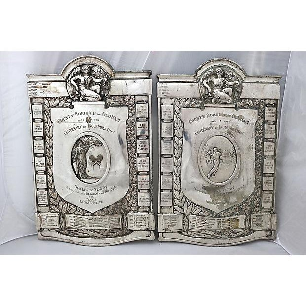Rare pair of heavy English silver-plate Tennis Club hanging wall trophy plaques. They were made in 1949 commemorating the...