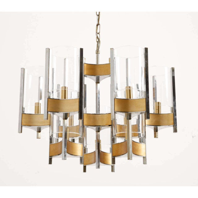 Mid-Century Modern Sciolari Brass Glass Sculptural Chandelier,1970s For Sale - Image 3 of 11