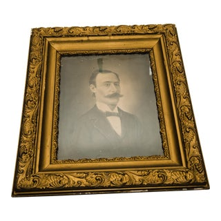 19th Century Framed Charcoal Portrait of a Man For Sale