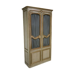 Maison Jansen French Louis XV Style Large Partial Gilt Painted Armoire Cabinet For Sale