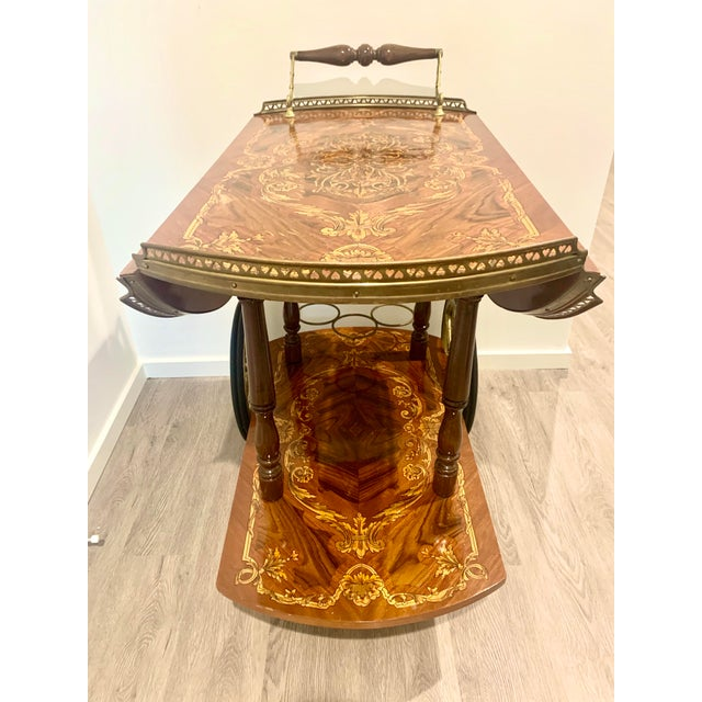 Brown Mid Century Vintage Italian Inlay Wood Bar Cart For Sale - Image 8 of 13