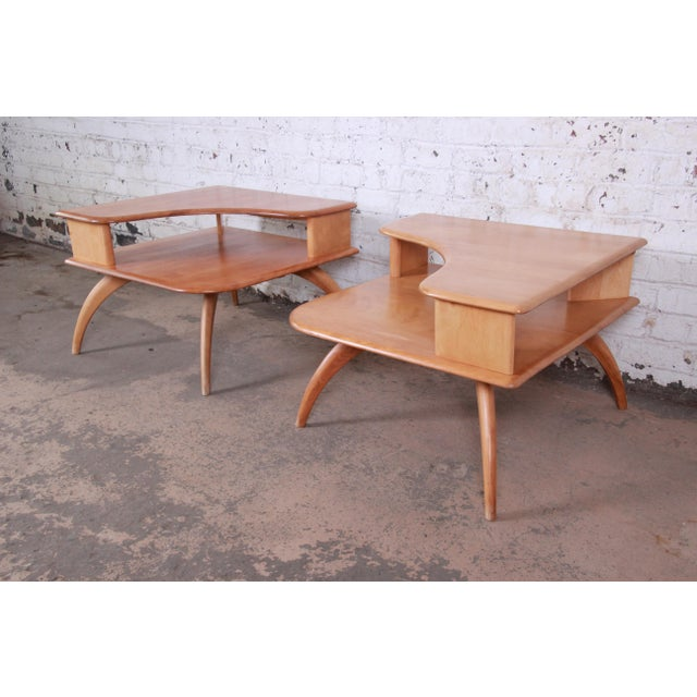 Wood Heywood Wakefield Mid-Century Modern Solid Maple Corner End Table, 1950s For Sale - Image 7 of 11