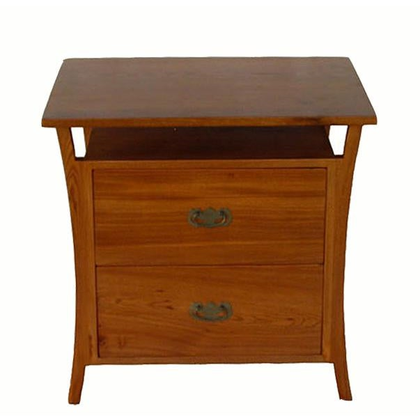 2010s Asian Style Elm Wood Nightstands For Sale - Image 5 of 5