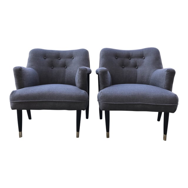 Mid Century Modern Vintage Gray Tweed Dunbar Era Occasional Club Chairs- a Pair MCM For Sale