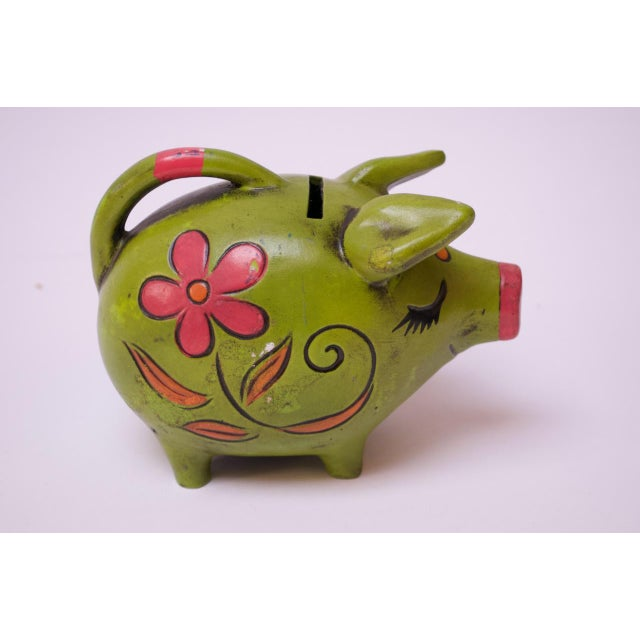 Vintage Japanese Paper Mache Piggy Bank For Sale - Image 4 of 11