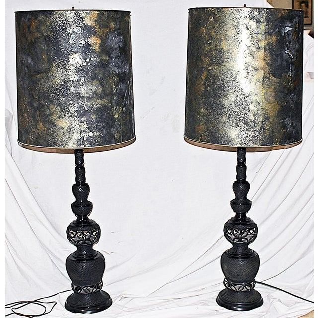 Mid-Century Tall Black Metal Table Lamps - A Pair - Image 2 of 7