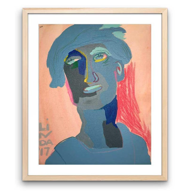 "Contemporary Abstract Portrait Painting ""Is He Ready to Go, No. 2"" - Framed For Sale - Image 12 of 12"