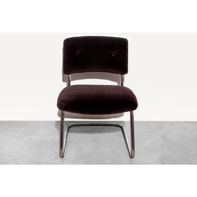 Steelcase Brown Micro-Velvet Cantilever Side Chair - Image 3 of 7