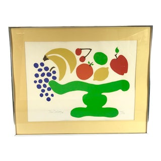 1974 Vintage Toni Doilney Fruit Silkscreen Print For Sale