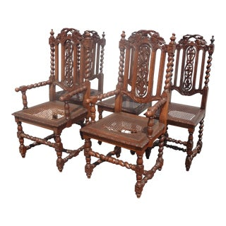 Set of Five Renaissance Spanish Revival Barley Twist Cane Chairs Jacobean For Sale
