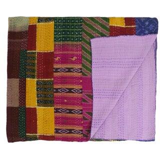 Silk Kantha Quilt   Bedspread
