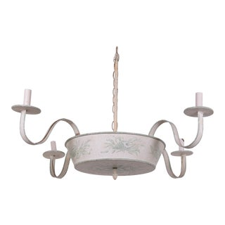 4 Arms French Ceiling Chandelier, Off White With Hand Painted Soft Green Floral/Leave Design For Sale