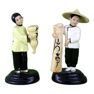 Ceramic Asian Man & Woman Figurines Vases - A Pair
