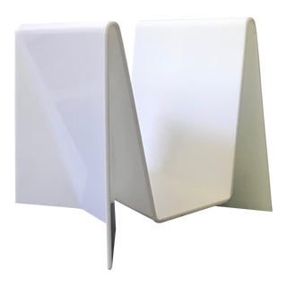 Neal Small White Lucite Magazine Rack For Sale