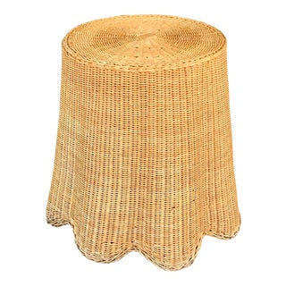 Trompe L'Oeil Mid Century Rattan Ghost Wicker Table For Sale