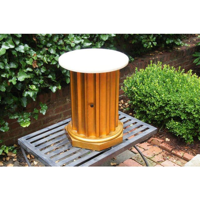 Wood Marble Column Side Table For Sale - Image 7 of 11