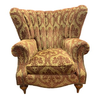 1990s Vintage Henredon Beacon Hill Sanctuary Shell Wingback Chair For Sale