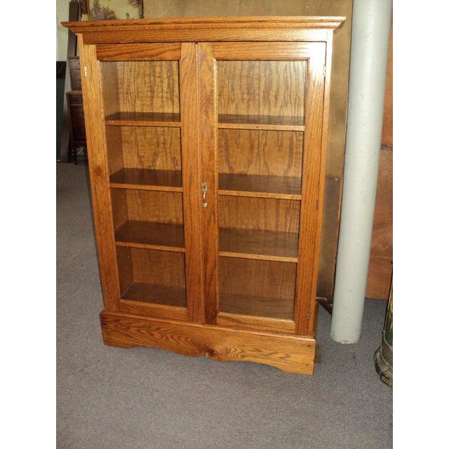 Wood Custom Built Two Door Solid Oak Bookcase For Sale - Image 7 of 7