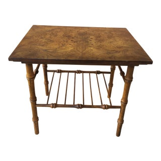 1960s Chinoiserie Petite Faux Bamboo Table For Sale