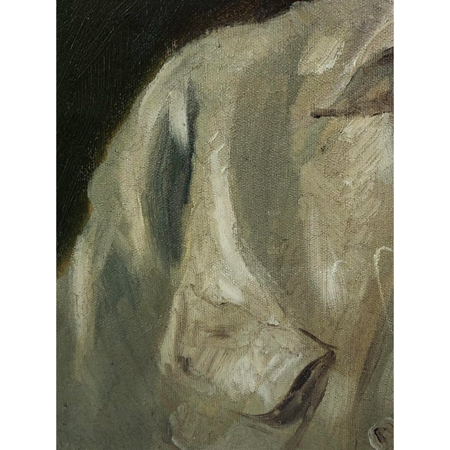 1940s 1940s Vintage Portrait of a Man in White Shirt Oil on Canvas Painting For Sale - Image 5 of 12