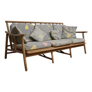 Ficks & Reed Bamboo & Brass Sofa For Sale
