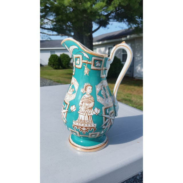 Asian Amazing 19th C. Chinese Export Pitcher in Tiffany Blue - for the English Market For Sale - Image 3 of 7