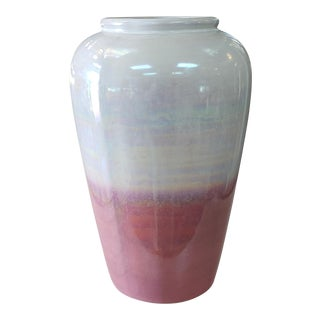 1980s Vintage West German Keramik Iridescent Pink/White Ceramic Vase For Sale