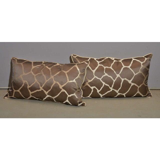 Scalamandre Brown Giraffe Print Pillows - A Pair - Image 3 of 5