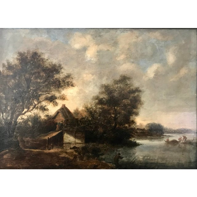 A fine 17th century Dutch landscape attributed to Solomon Van Ruisdael oil on oak panel 19 x 25.5 inches signed lower...
