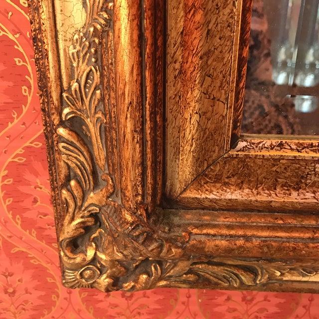 Vintage Carved Crackled Wood & Burnished Gold Mirror - Image 4 of 8